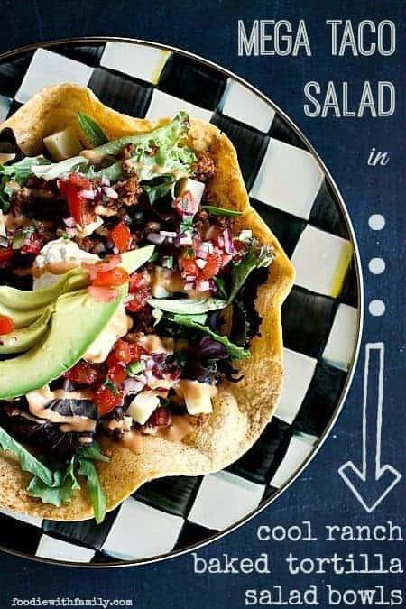 Mega Taco Salad in Cool Ranched Baked Tortilla Salad Bowls foodiewithfamily.com #Salad