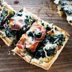 White Spinach French Bread Pizza #ComfortFood #Whitepizza foodiewithfamily.com