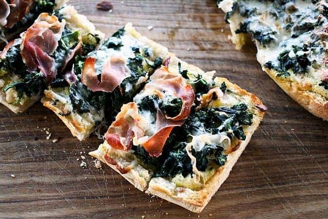 White Spinach French Bread Pizzas