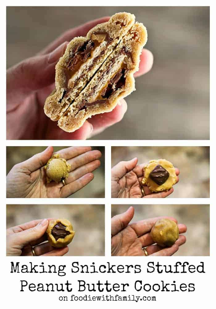 How to make Snickers Stuffed Peanut Butter Cookies #cookies #foodiewithfamily.com