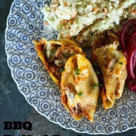 BBQ Pulled Pork Overstuffed Shells foodiewithfamily.com #pasta #familyfriendly