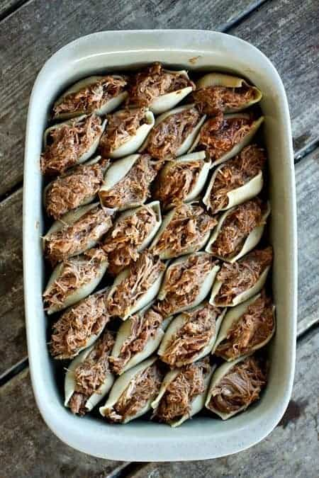 BBQ Pulled Pork Overstuffed Shells ready to bake foodiewithfamily.com #pasta #familyfriendly