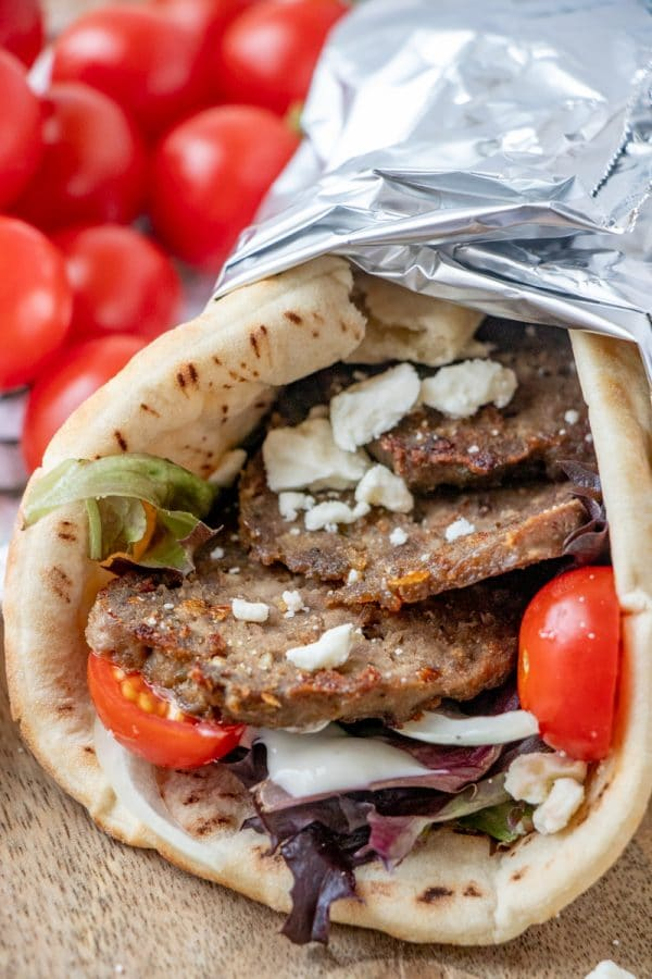 Make restaurant worthy homemade gyro meat and gyros -flat breads filled to bursting with garlicky, herbed, crisped strips of Greek/Lebanese meatloaf.
