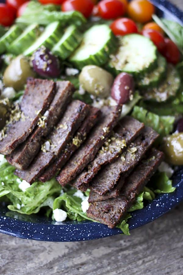 Greek Gyro Salad Plate from foodiewithfamily.com