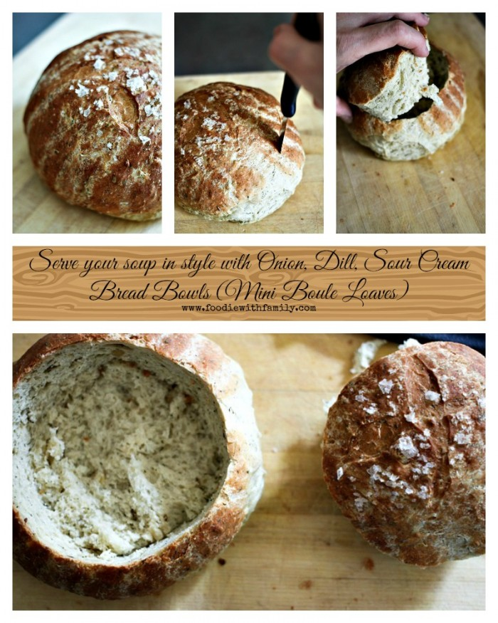Onion, Dill, Sour Cream Bread Bowls or Mini Boule Loaves foodiewithfamily.com #artisanbread #homemadebread