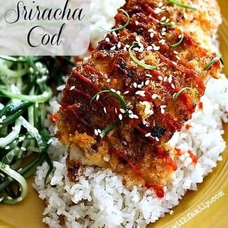 Panko Crusted Sriracha Cod www.foodiewithfamily.com #lent #seafood #fish