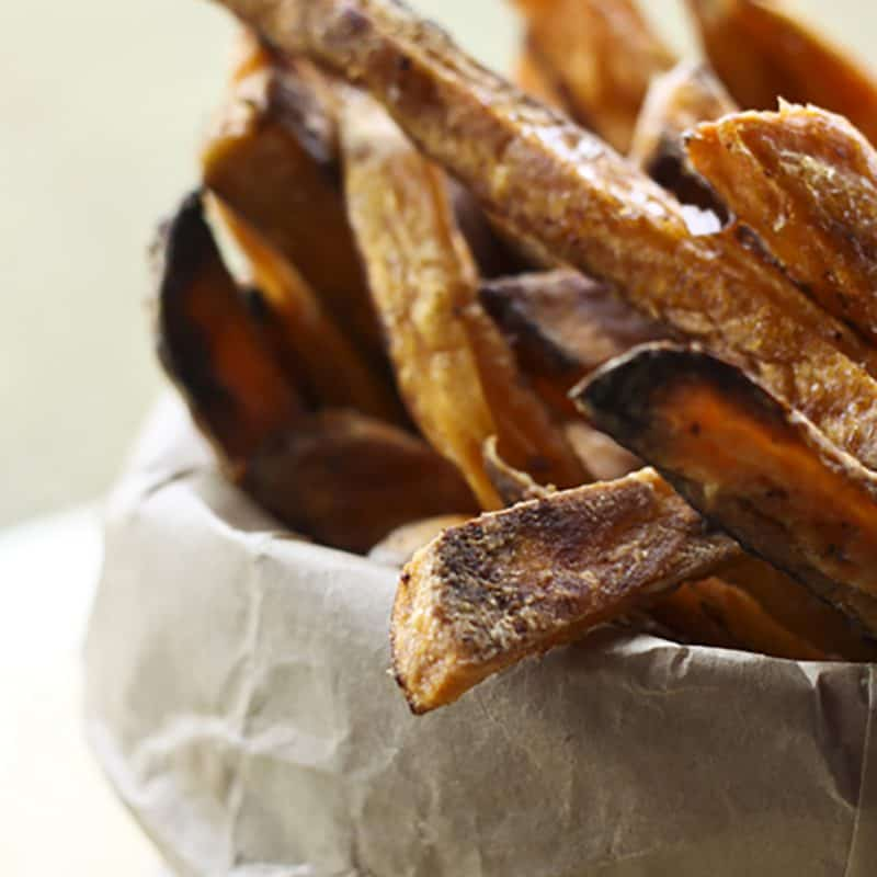 Guaranteed Crispy BAKED Sweet Potato Fries from foodiewithfamily.com