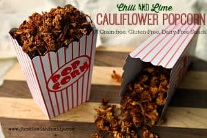 Chili Lime Cauliflower Popcorn. Grain-free, gluten-free, vegan, and paleo snack! Don't let that deter you though, this is awesome!