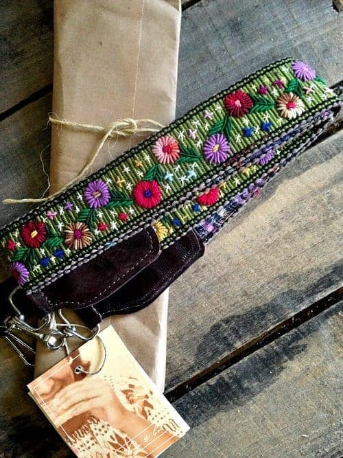 Nena and Co one-of-a-kind, hand-loomed camera strap with real leather trim. #Giveaway