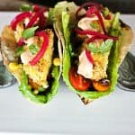 Quick Pickled Red Onions on Baked Ranch Fish Tacos