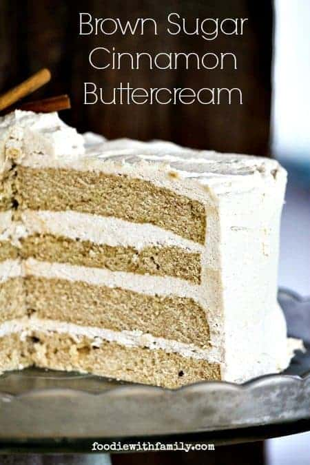 Brown Sugar Cinnamon Buttercream is flecked with crunchy bits of brown sugar and tastes reminiscent of a snickerdoodle cookie. foodiewithfamily.com