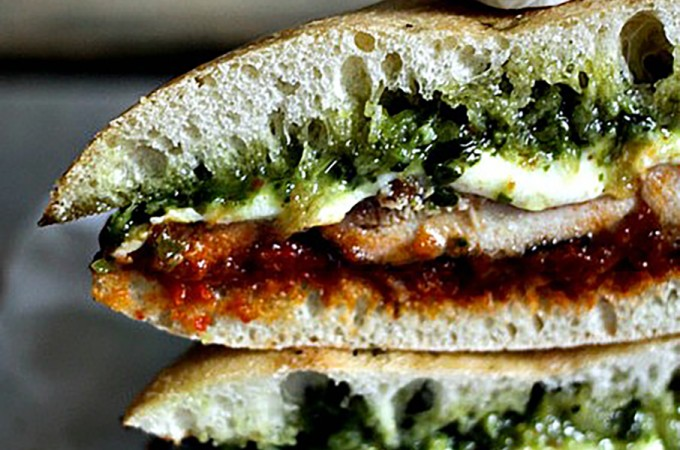 Grilled Chicken Melt with Pesto and Sun Dried Tomato Spread