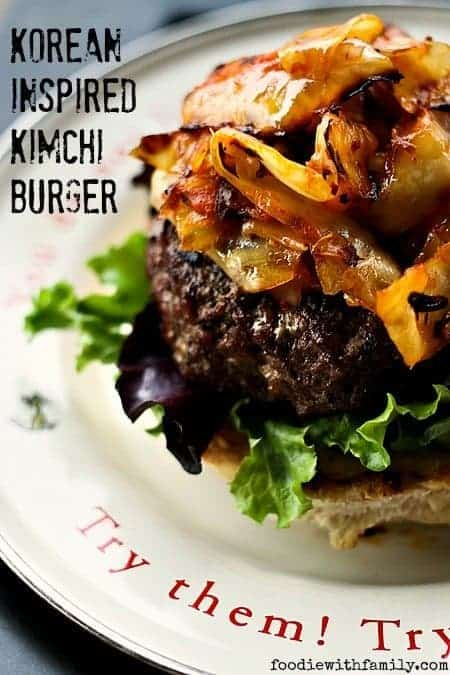 Korean Inspired Kimchi Burger from foodiewithfamily.com