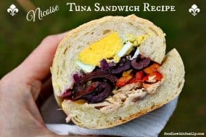 Nicoise Tuna Sandwich Recipe olives, peppers, albacore tuna, hardboiled eggs, albacore tuna, baguette. foodiewithfamily.com