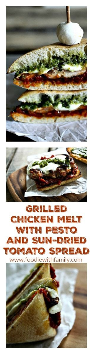Grilled Chicken Melt with Pesto and Sun-Dried Tomato Spread from foodiewithfamily.com