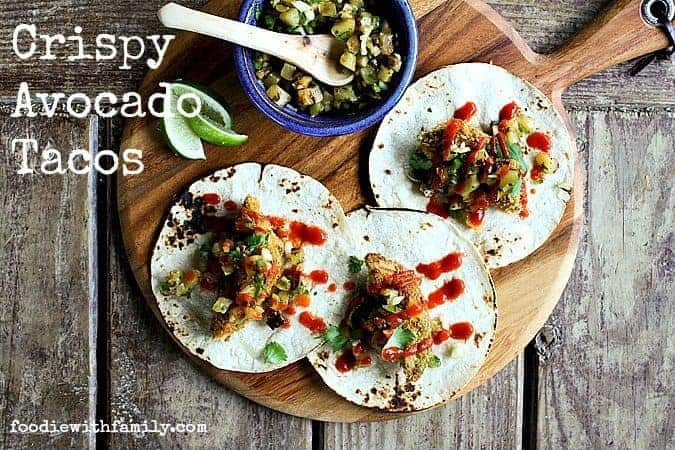 Crispy Avocado Tacos with Grilled Pineapple Relish from foodiewithfamily.com