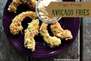Crispy, Creamy, pan-fried Avocado Fries from foodiewithfamily.com