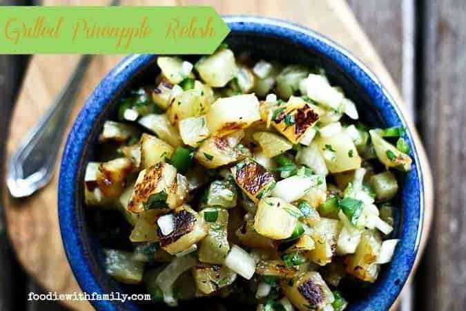 Grilled Pineapple Relish goes with pork, fish, chicken, and beef! foodiewithfamily.com