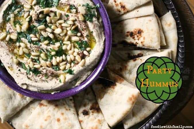 Party Hummus- the best hummus ever served just as hummus should be. Hint: not cold. foodiewithfamily.com