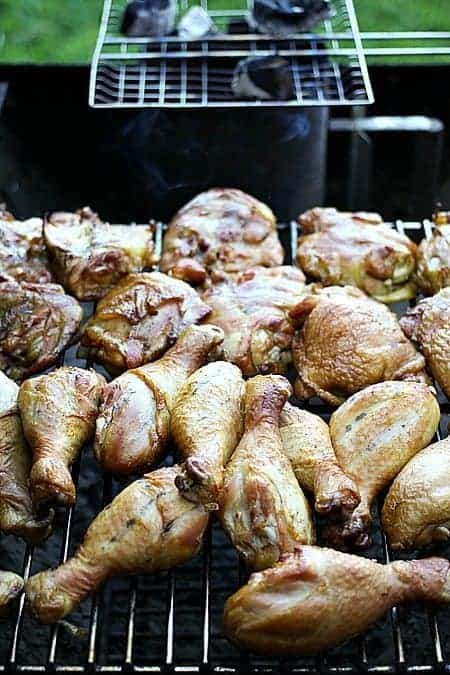 Stage 1 of a 2-stage smoking and barbecuing process for chicken. #CookingwithEngineers on foodiewithfamily.com