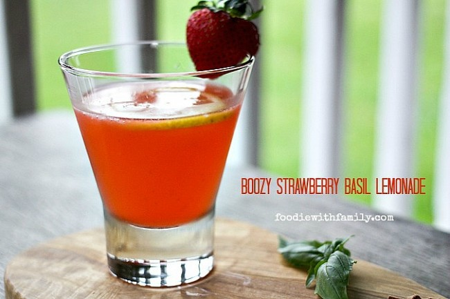 Boozy Strawberry Basil Lemonade made with strawberry basil infused vodka from foodiewithfamily.com