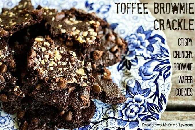 Toffee Brownie Crackle {Crispy, Crunchy, Brownie Wafer Cookies} from foodiewithfamily.com