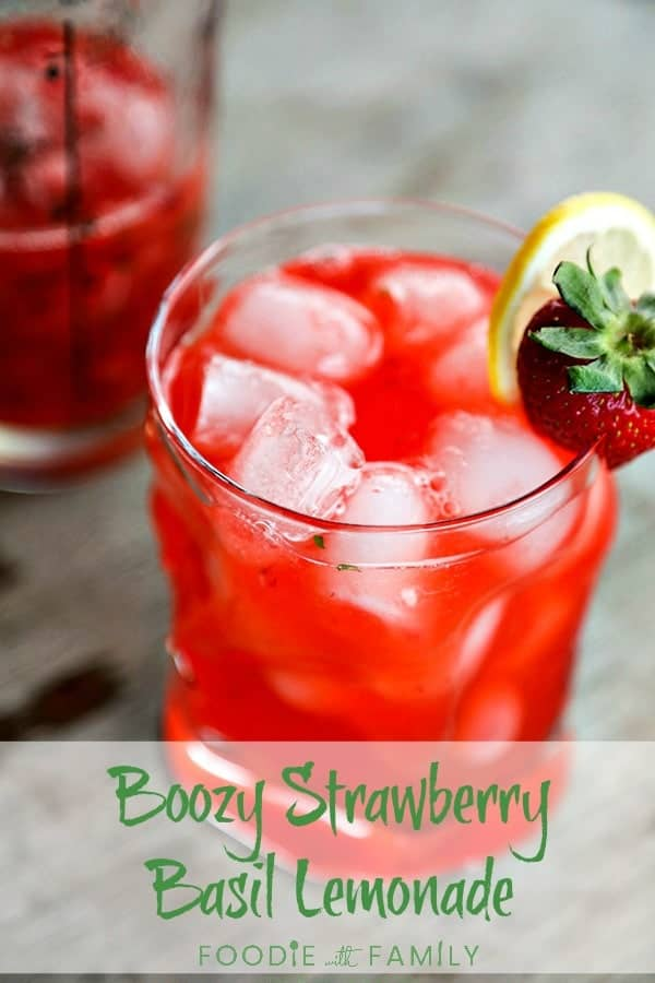 Boozy Strawberry Basil Lemonade; the ultimate in porch sitting, warm weather, good times, and summer sipping.  Made with strawberry basil infused vodka. Prepare to impress yourself!