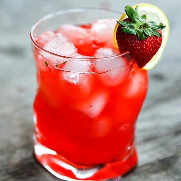 Boozy Strawberry Basil Lemonade