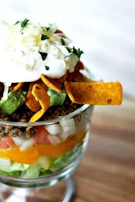 Layered Chopped Taco Salad from foodiewithfamily.com
