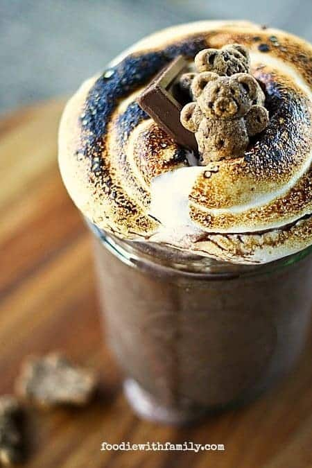 Toasted Marshmallow and Chocolate S'mores Milkshake from foodiewithfamily.com