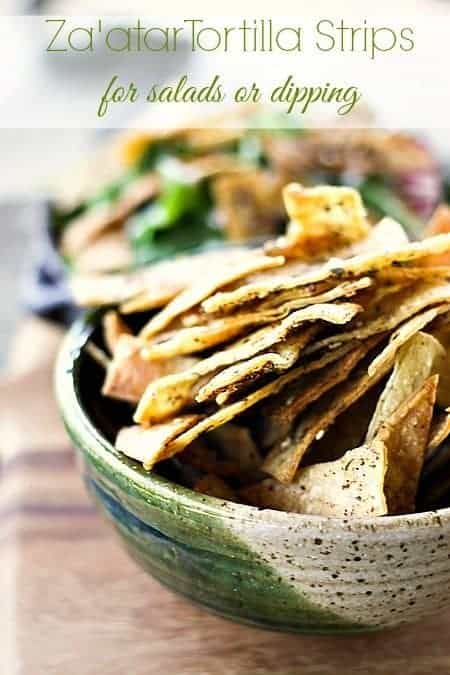 Baked Za'atar Tortilla Strips for Salad or Snacking