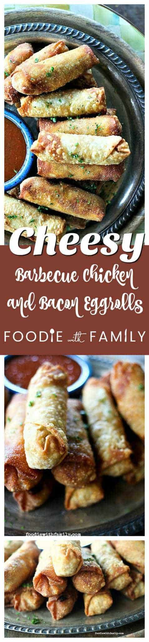 Crunchy egg roll wrappers around a cheesy, bacon studded, barbecue chicken filling will keep you wanting more Cheesy Barbecue Chicken and Bacon Egg Rolls!