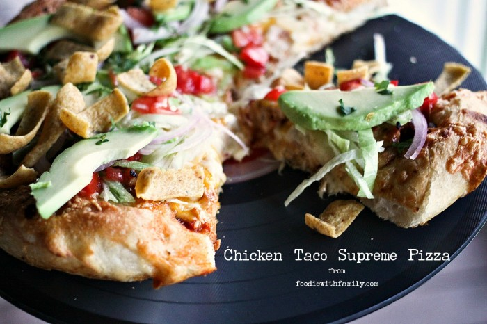 Chicken Taco Supreme Pizza from foodiewithfamily.com #JCPAmbassador #Sponsored #BH