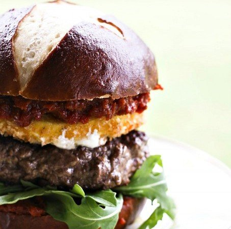 Fried Mozzarella & Sun Dried Tomato Burgers
