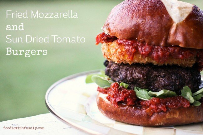 Fried Mozzarella and Sun Dried Tomato Burgers from foodiewithfamily.com