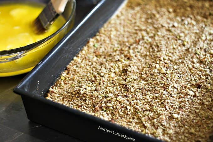 Ground nut and sugar mixture for Cardamom Pistachio Baklava from foodiewithfamily.com