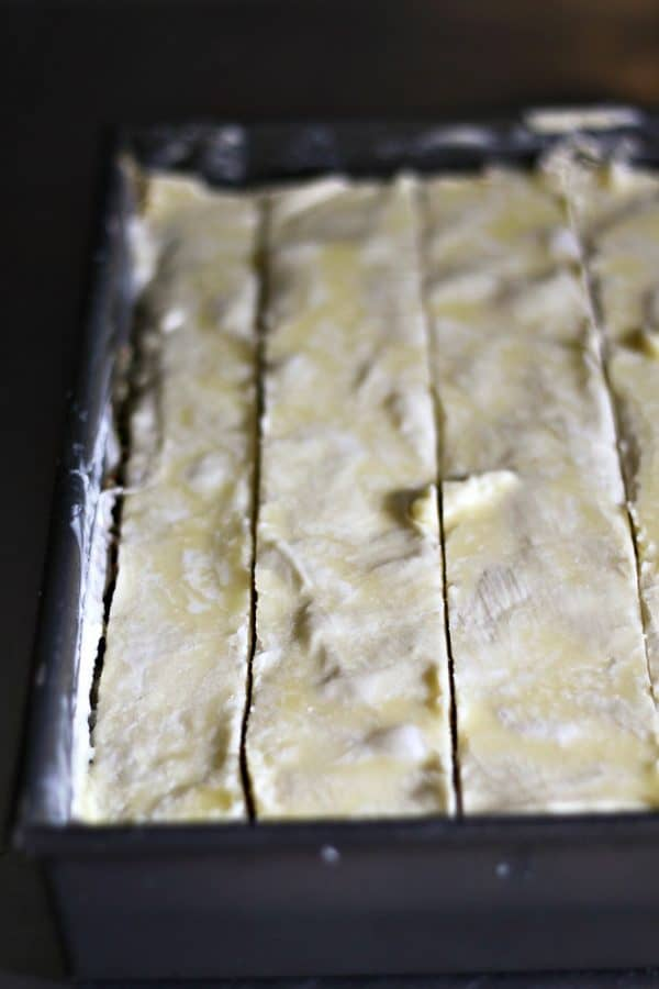 Make your Cardamom Pistachio Baklava easier to slice before baking by refrigerating for 30 minutes or more from foodiewithfamily.com