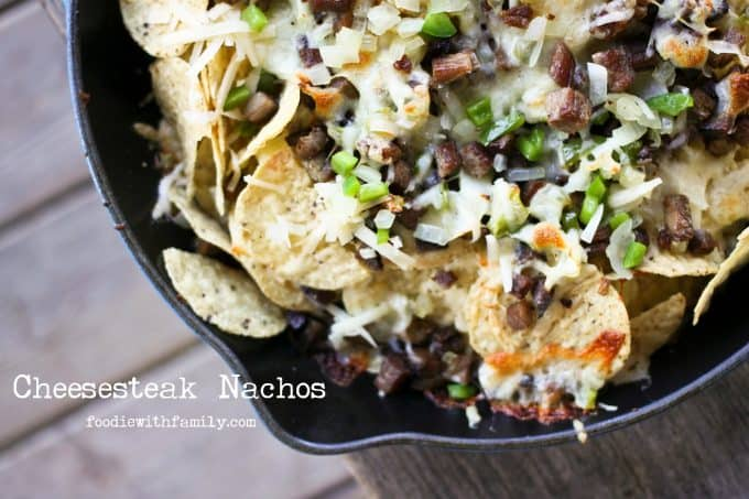 Cheesesteak Nachos are comfort food deluxe from foodiewithfamily.com cheese, tortilla chips, beef, onions, peppers