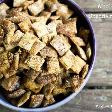 Whole Wheat Cheddar Garlic Snacks made from bite-sized shredded wheat cereal from foodiewithfamily.com