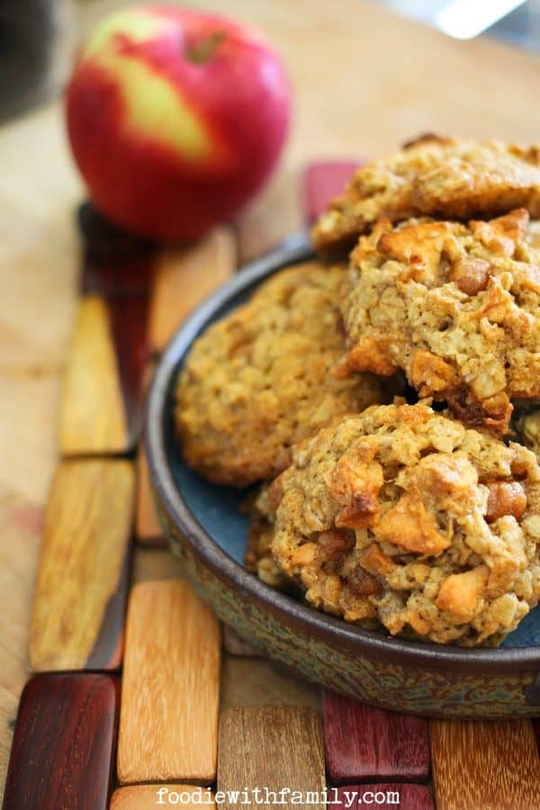 Caramel Apple Oatmeal Cookies from foodiewithfamily.com