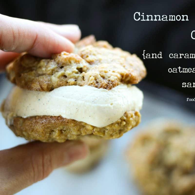 Cinnamon Frozen Custard and Caramel Apple Oatmeal Cookie ice cream sandwiches on foodiewithfamily.com