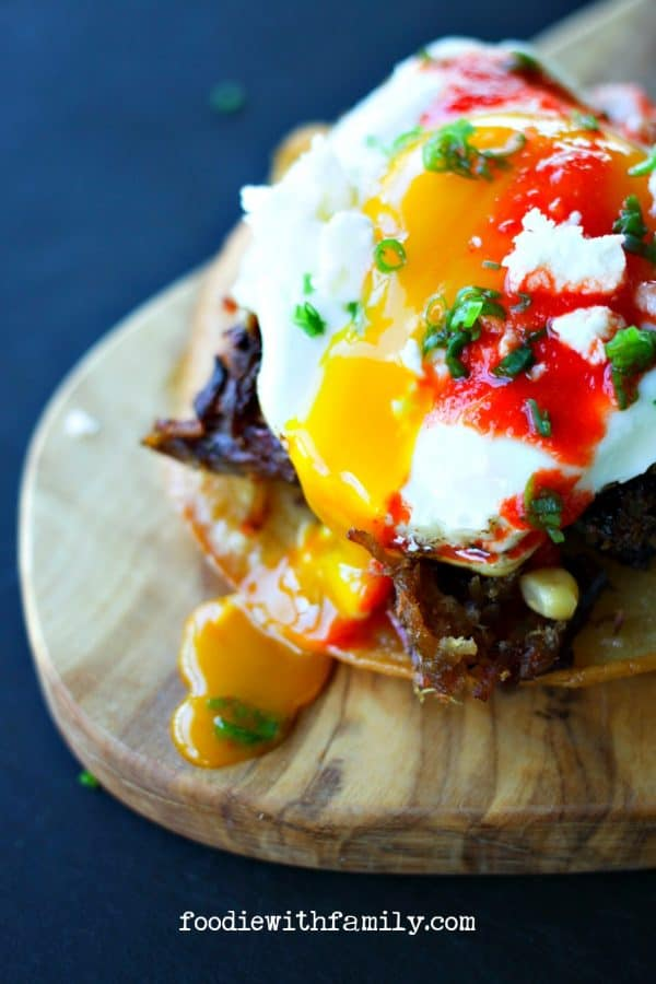 Pulled Pork Huevos Rancheros from foodiewithfamily.com