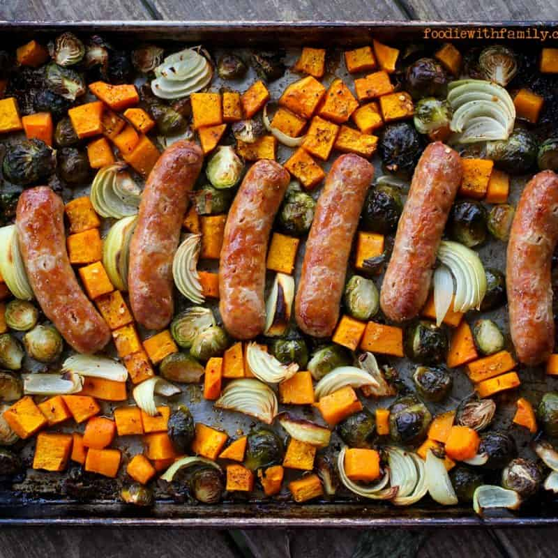 Roasted Fall Vegetables and Italian Sausage Sheet Pan Meal from foodiewithfamily.com