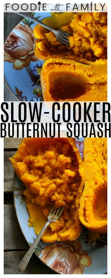 Slow-Cooker Butternut Squash yields tender, sweet, unbelievably delicious cooked butternut squash and you don't have to wrestle the big beastly hard raw squash or go anywhere near it with a knife until it's already practically ready to cut itself!