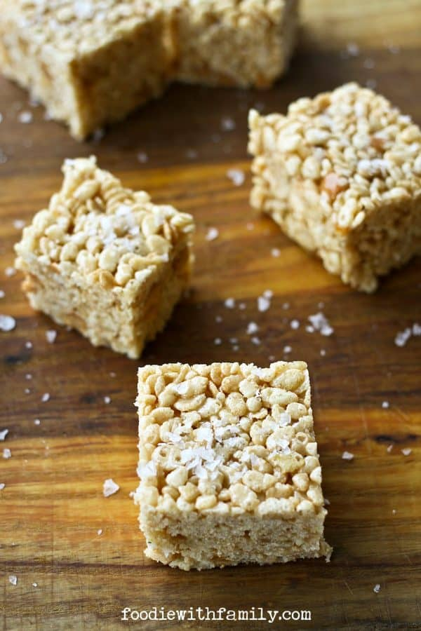 A grown up twist on a kids' favourite: Salted Caramel Bourbon Rice Crispy Treats on foodiewithfamily.com