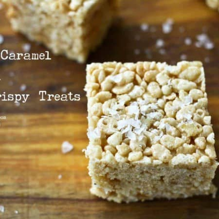 Salted Caramel Bourbon Rice Crispy Treats from foodiewithfamily.com