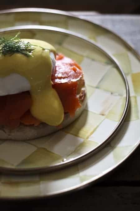 Smoked Salmon Eggs Benedict with Hollandaise sauce from foodiewithfamily.com