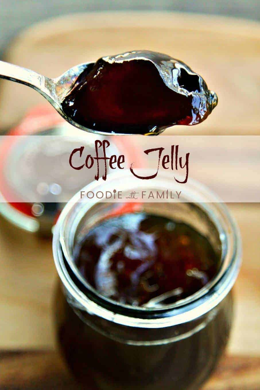 This beautiful brown Coffee Jelly is pure coffee goodness. Sweet, soft set, and definitely for coffee lovers only, it has four simple ingredients including very strong dark roast coffee and is delicious on pancakes, waffles, in between cake layers, and more!