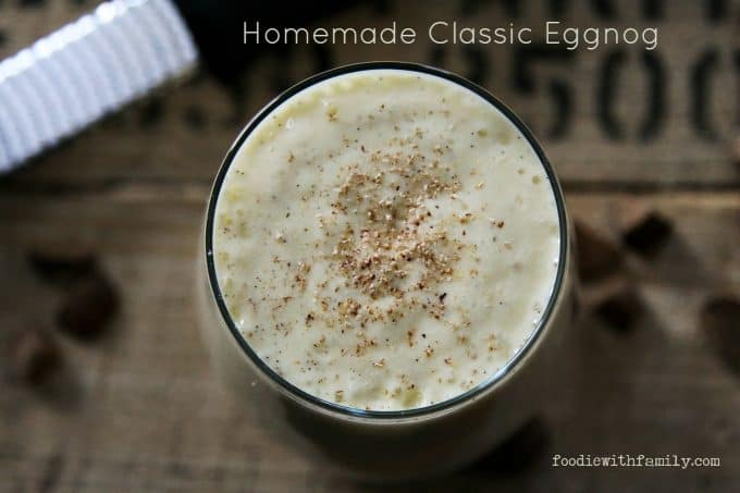 Light as a feather, rich, Homemade Classic Eggnog from foodiewithfamily.com