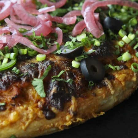 Trashed Up Barbecue Turkey Pizza for turkey leftovers at foodiewithfamily.com